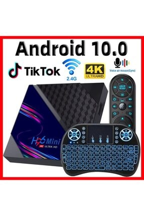 Gomax H96 Max Mini 4k Android 9,0 Tv Box Türkçr Işıklı Mini Klavye Kablosuz Wireless Mouse