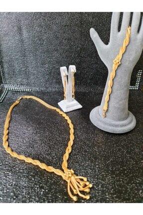 odabaş shop Altın Kaplama Set Takım Kolye Bileklik Küpe
