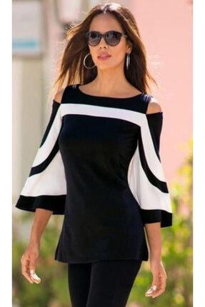 JANES Kadın Siyah Beyaz Yarasa Kol Omuz Detay Türlü Viskon Kumaş Bluz