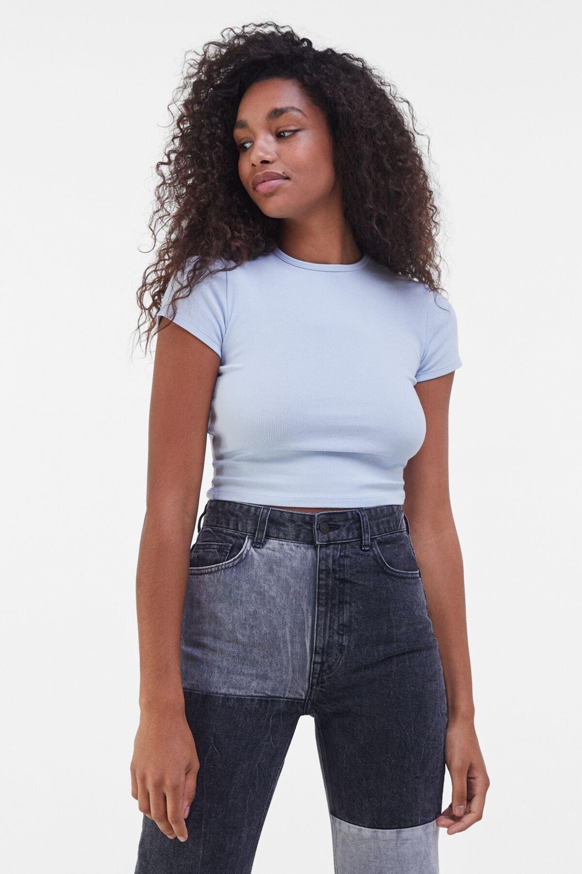 Bershka Kadın Açık Mavi Kısa Kollu Fitilli T-Shirt 02197987