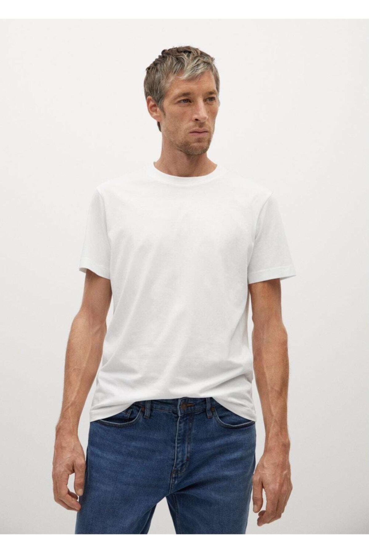 MANGO Man Erkek Beyaz Organik Pamuklu Tişört 1