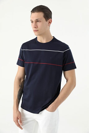 D'S Damat Erkek Lacivert Çizgili T-Shirt