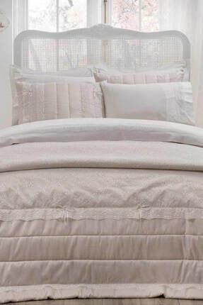 Taç Çift Kişilik Nevresim Takımlı Yatak Örtüsü - Lavinia Ekru