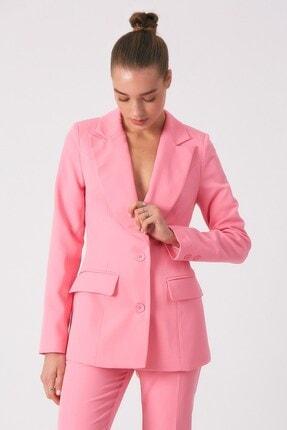 Robin Kadın Pembe Kruvaze Cepli Ceket