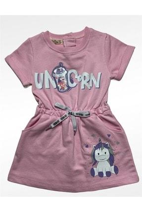Buse&Eylül Bebe Kız Çocuk Pembe Penye Unicorn Desenli Elbise