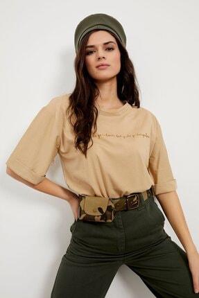 Arma Life Kadın  Bej Baskılı Duble Kol T-shirt