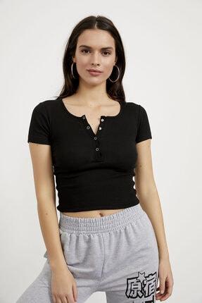 Arma Life Kadın Siyah Yaka Çıtçıt Detaylı Kaşkorse Bluz