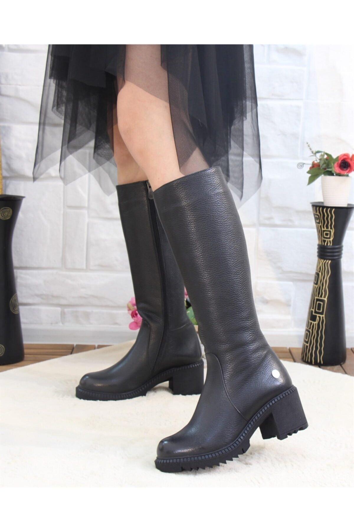 Mammamia 2065 Siyah Hakiki Deri Kadın Çizme 1