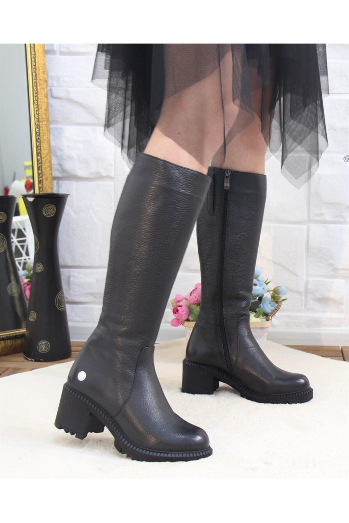 Mammamia 2065 Siyah Hakiki Deri Kadın Çizme 2