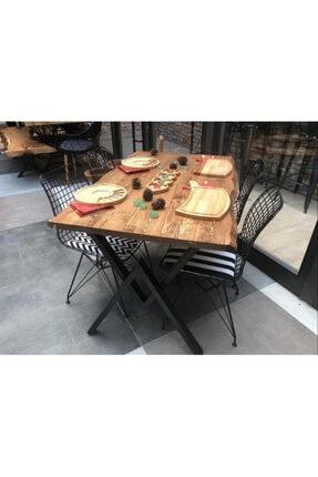 Sağıroğlu Ahşap 4 Kişilik Doğal Ahşap Kütük Yemek Masa Dörtlü Sandalye Takımı 80x140