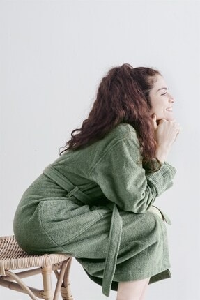 COTTONMANIA Carmıne Robe Olive Şalyaka Bornoz