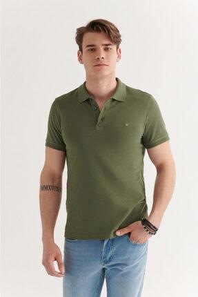 Avva Erkek Haki Polo Yaka Düz T-shirt E001004