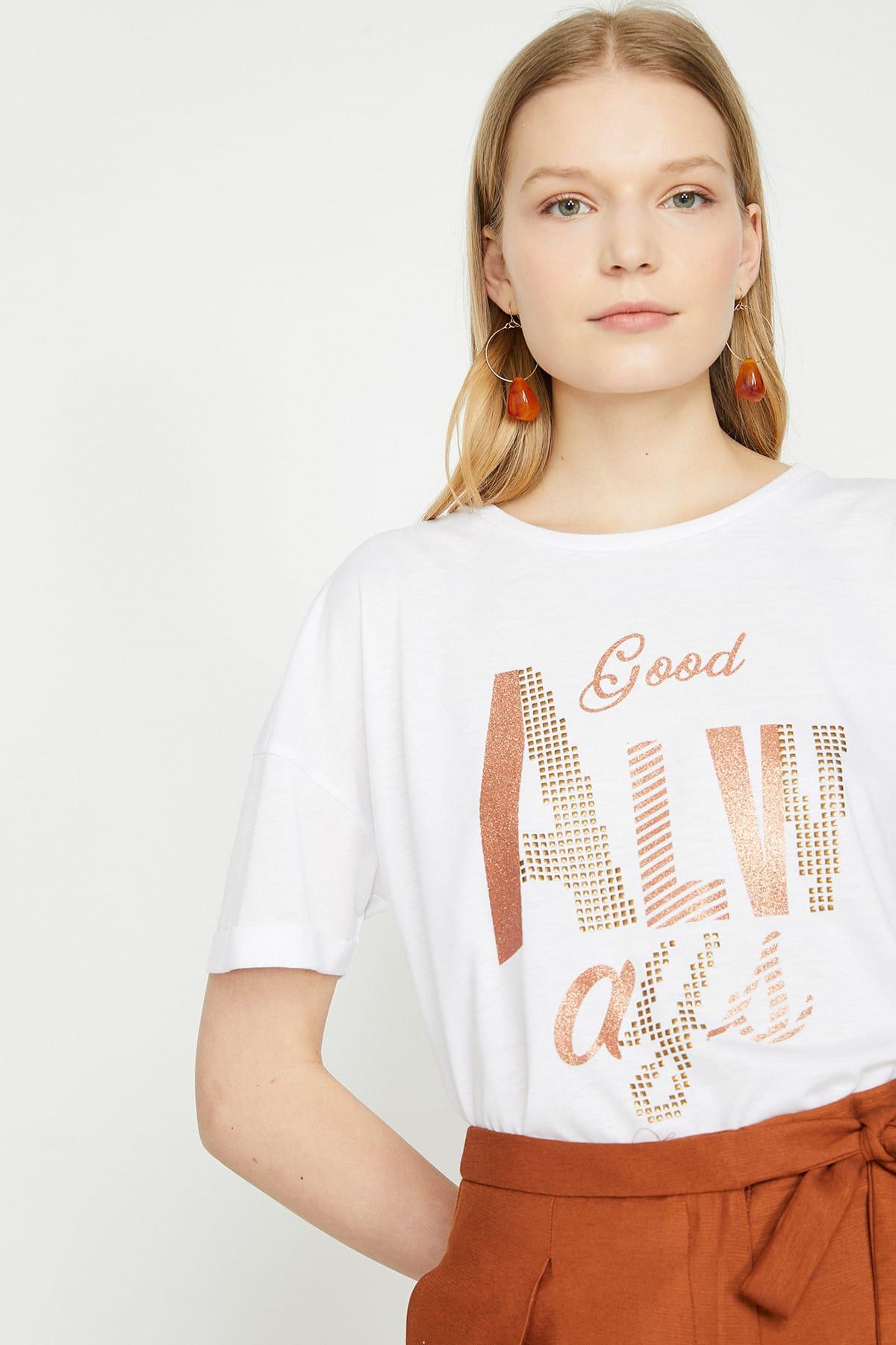 Koton Kadın Ekru T-Shirt 9YAK13784EK 2
