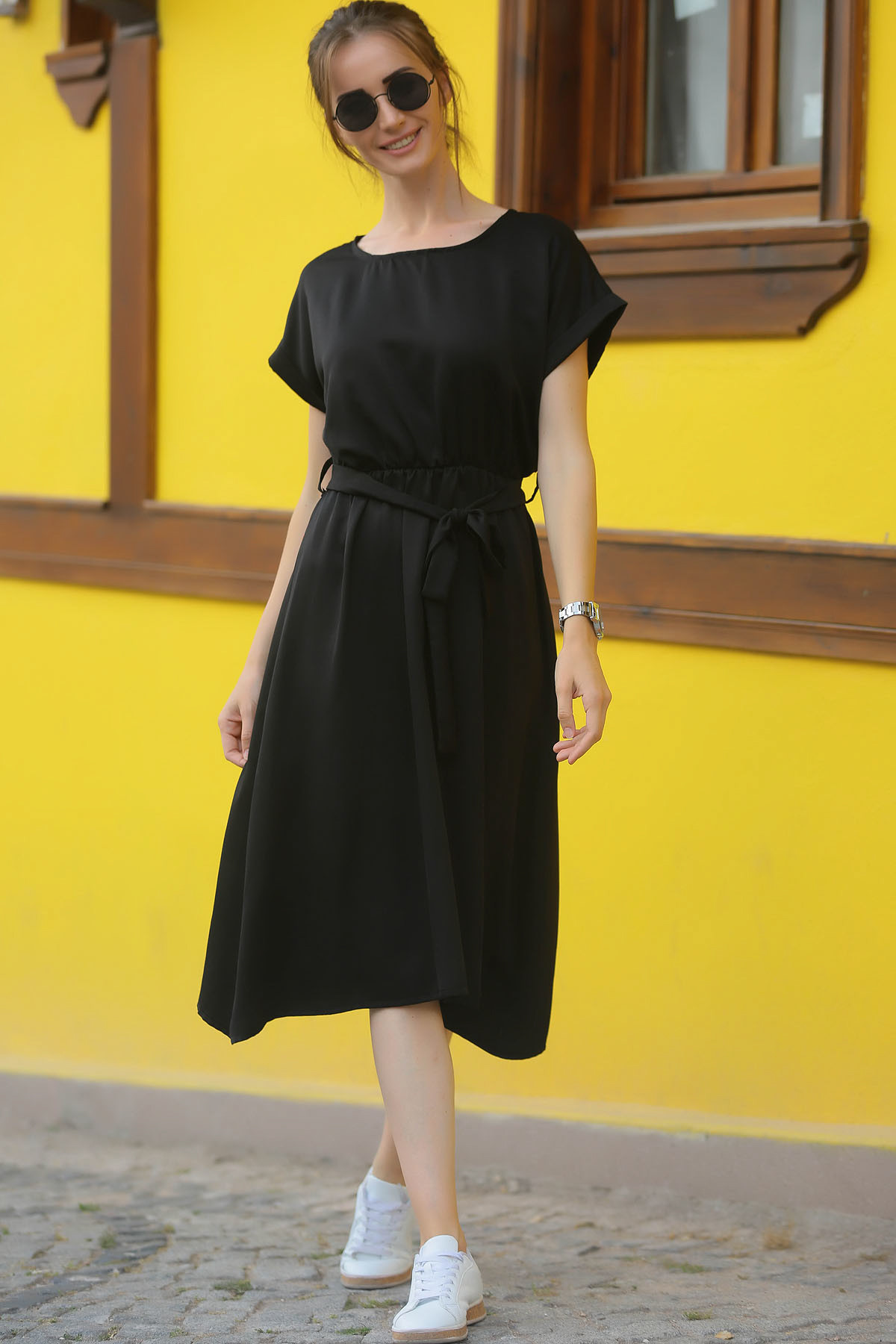 armonika Kadın Siyah Beli Lastikli Bağlamalı Elbise ARM-18Y001133 2