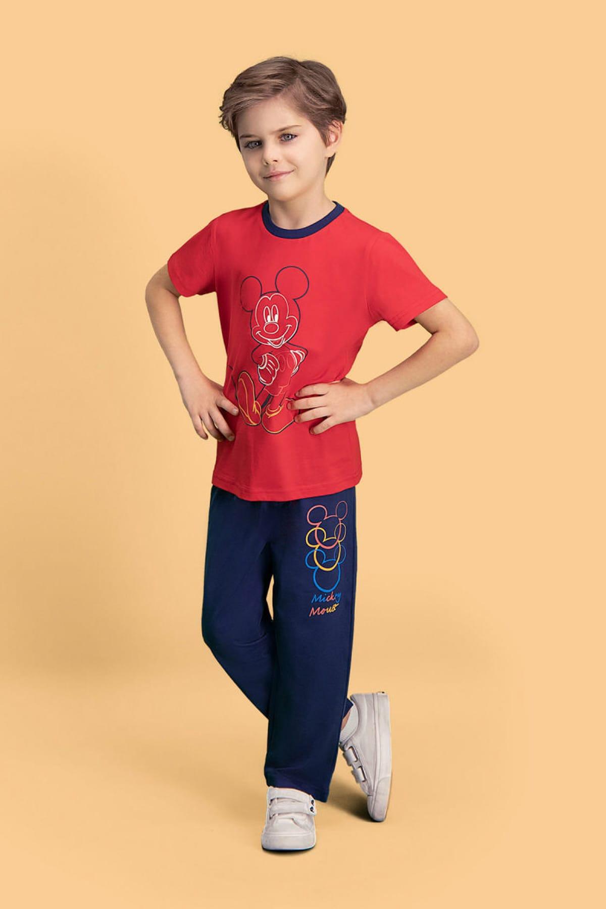 Mickey Mouse Mickey & Minnie Mouse Lisanslı Kırmızı Erkek Çocuk Pijama Takımı 1