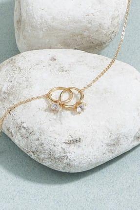 ZİNDİ Kadın Tek Taş Yüzük  Zincir Kolye Altın Rengi K-3051011-415