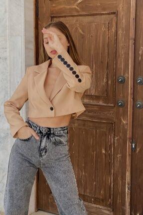 COACHELLA STORE Kadın Bej Düğmeli Düz Ceket