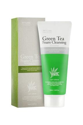 3W CLINIC Organik Saf Yeşil Çay Özü, Siyah Nokta Ve Akneler Için Anti Sebum Temizleyici Köpük