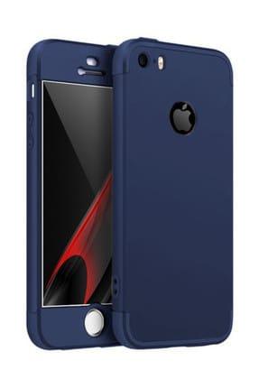 Microsonic Apple iPhone 5 / 5S Kılıf Double Dip 360 Protective Lacivert