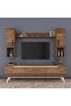 Rani Mobilya D1 Duvar Raflı Kitaplıklı Tv Ünitesi Duvara Monte Dolaplı Ahşap Ayaklı Tv Sehpası Ceviz Beyaz M27