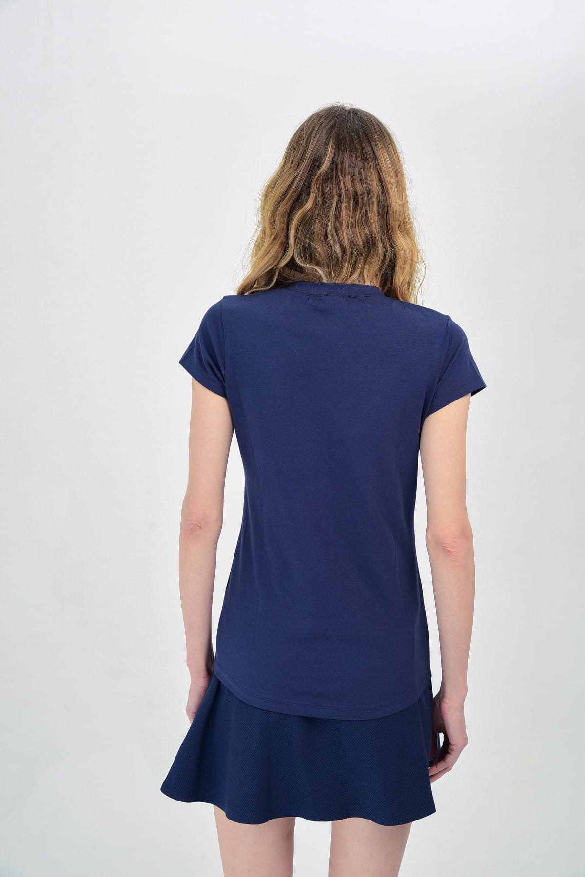 Hanna's by Hanna Darsa Kadın Lacivert Bisiklet Baskılı T-Shirt Hn1308 2