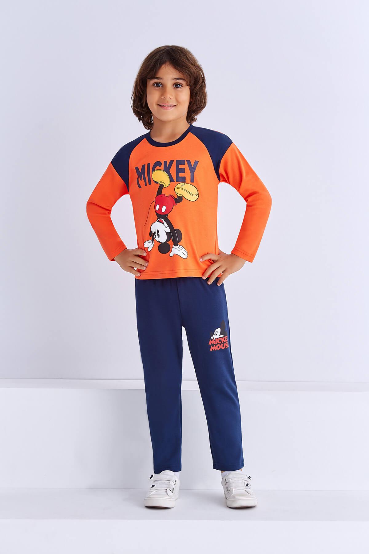 Mickey Mouse Mickey & Minnie Mouse Lisanslı Erkek Çocuk Pijama Takımı Oranj 1