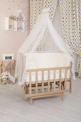 Bebekonfor Krem Fransız Dantel Uyku Setli Asansörlü Doğal Anneyanı Beşik