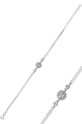 Söğütlü Silver Kadın Gümüş Renk Gümüş Elmas Montürlü Bileklik SGTL8638