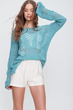 Trend Alaçatı Stili Kadın Mint Kayık Yaka Ajurlu Triko Bluz ALC-X6200