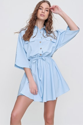 Trend Alaçatı Stili Kadın Mavi Safari Dokuma Gömlek Elbise ALC-X6196
