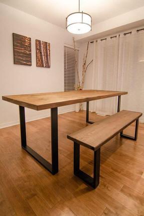 Weblonya Ağaç Masa Mutfak Masası + Mutfak Bank 5117