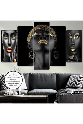 hanhomeart Afrikalı Kadın Ahşap Duvar Tablo Seti