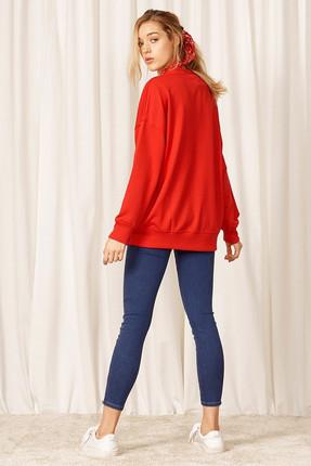 Eka Kadın Kırmızı Uzun Kol Sweatshirt 0302-9019