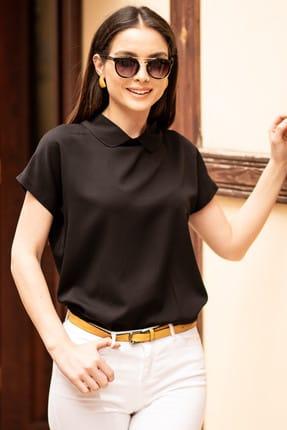 armonika Kadın Siyah Bebe Yaka Bluz ARM-19Y001064