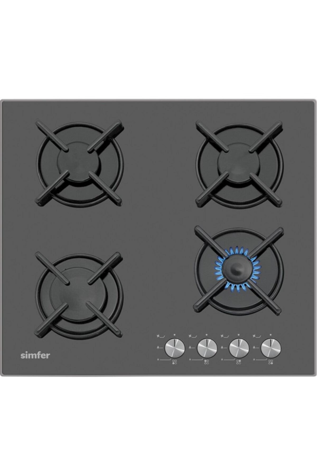 Simfer 3031 4 Gözü Gazlı Siyah Setüstü Cam Ocak (Illk Montajda Ücretsiz Lpg Veya Doğalgaz Dönüşümü) 1