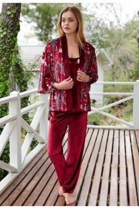 Penyemood Penye Mood 8401 Kadın Üçlü Pijama Takımı Bordo