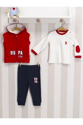 U.S. Polo Assn. Kids Erkek Bebek Kırmızı Yelekli 3'lü Takım