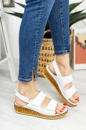 Deripabuc Hakiki Deri Beyaz Kadın Deri Sandalet Dp16-0303