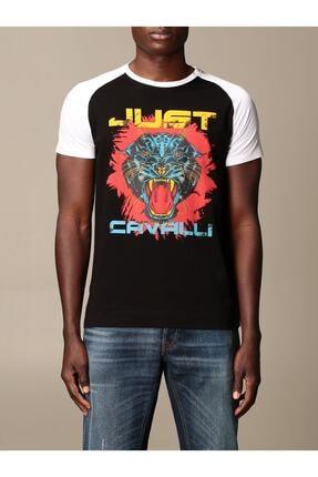 Just Cavalli Erkek Siyah Two Tone Big Tiger Logo T-shirt