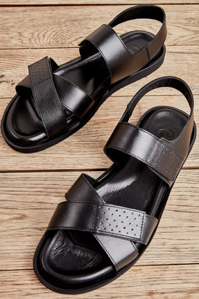 Bambi Hakiki Deri Siyah Erkek Sandalet L1801043403