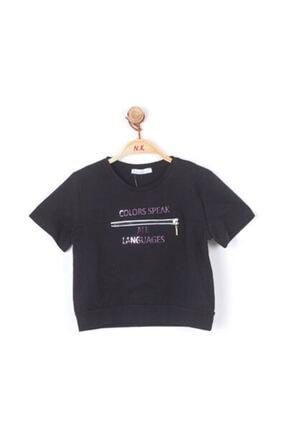 NK Kız Çocuk Siyah Önü Fermuarlı Tshirt