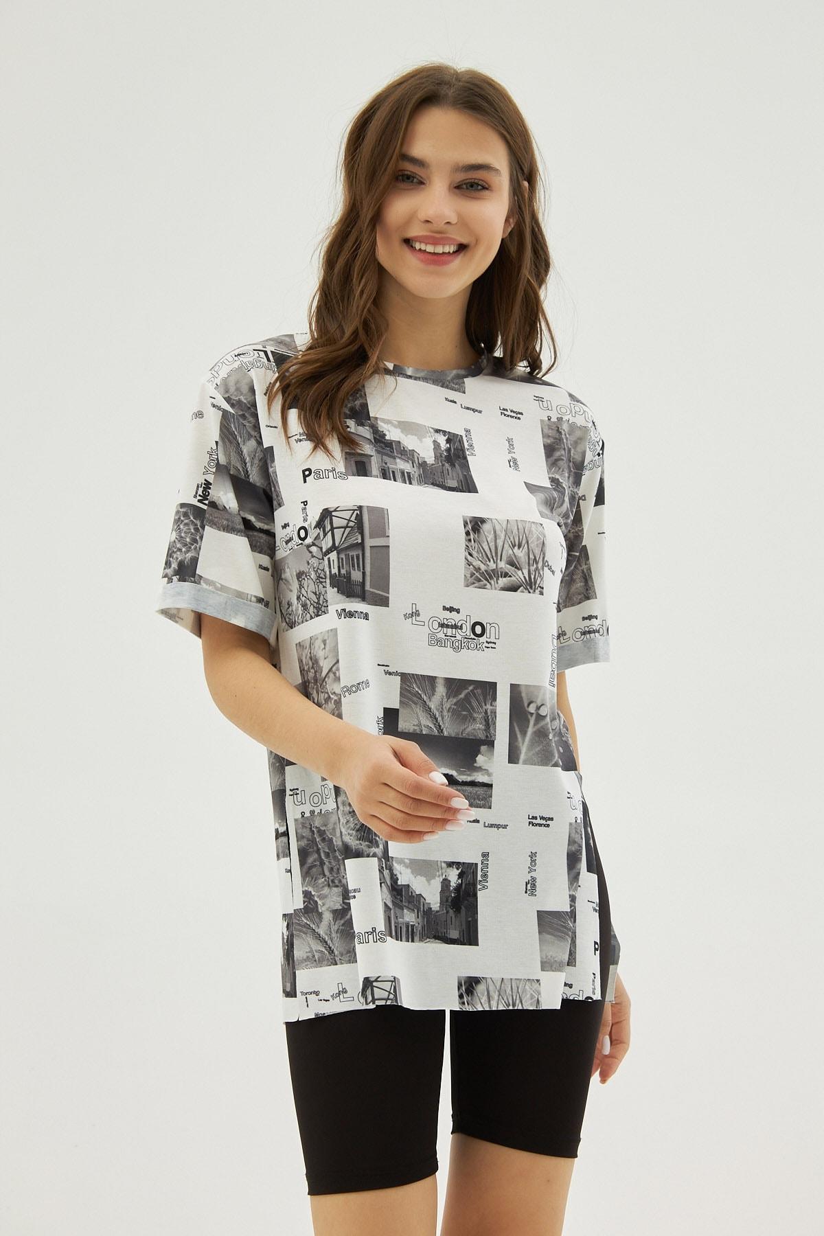 Pattaya Kadın Beyaz Gri Desenli Yırtmaçlı Oversize Kısa Kollu Tişört P21s201-2121 1