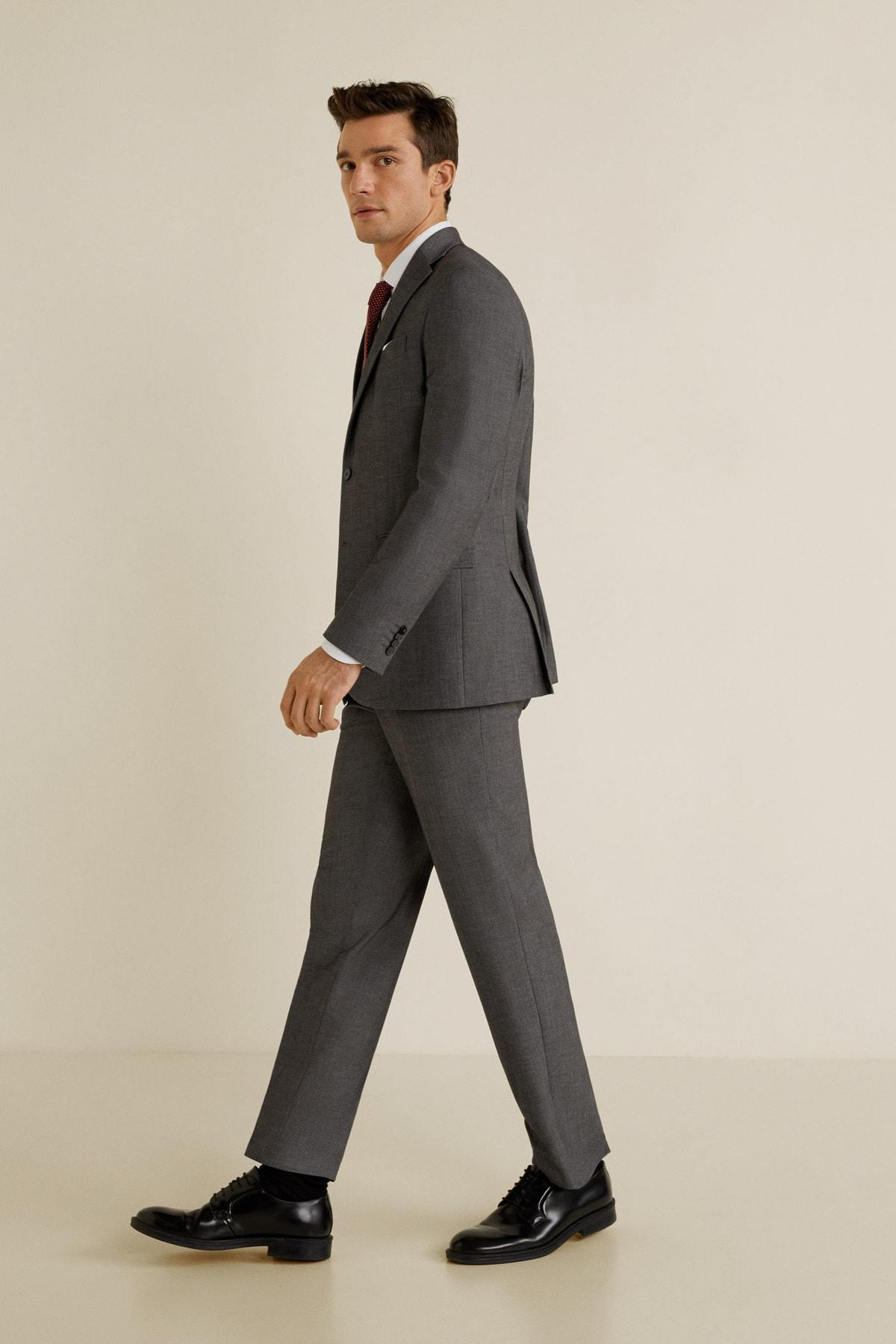 MANGO Man Erkek Açık/Pastel Gri Pantolon 43010495 1