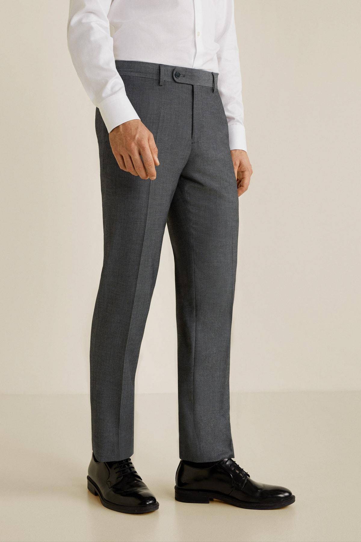 MANGO Man Erkek Açık/Pastel Gri Pantolon 43010495 2