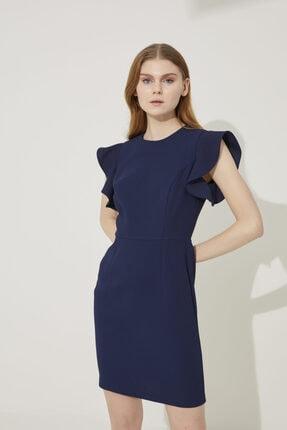 adL Kadın Lacivert Kol Detaylı Elbise