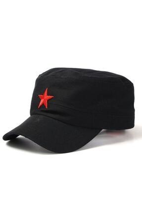 Köstebek Yıldızlı Fidel Castro Che Guevara Şapkası Siyah Renk