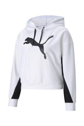 Puma Kadın Sweatshirt Kapüşonlu Modern Sports Hoodie - Beyaz