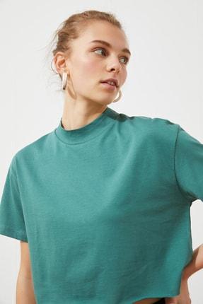 TRENDYOLMİLLA Yağ Yeşili Crop Örme T-Shirt TWOSS20TS0287