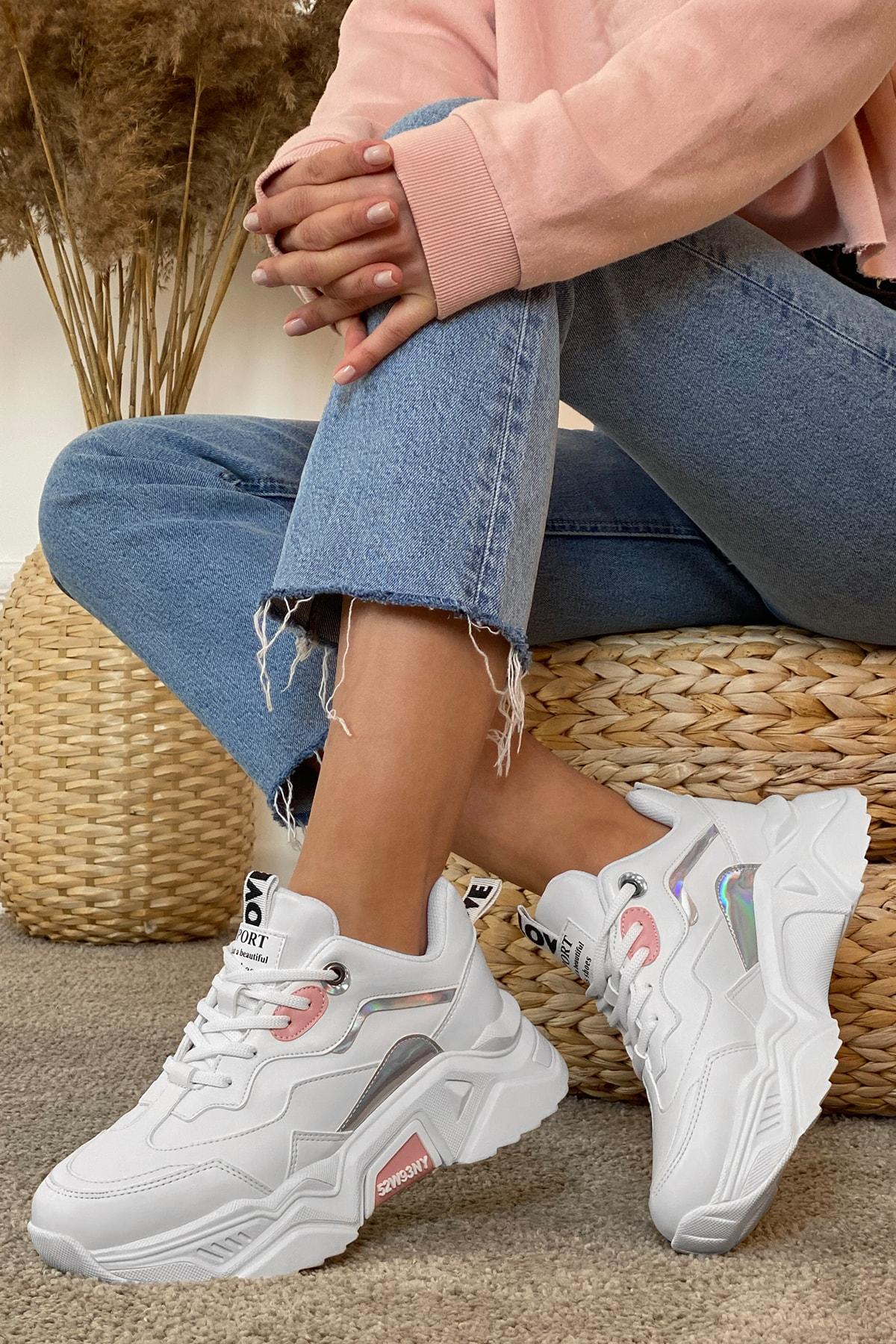 DARK SEER Kadın Beyaz Pudra Sneaker 1