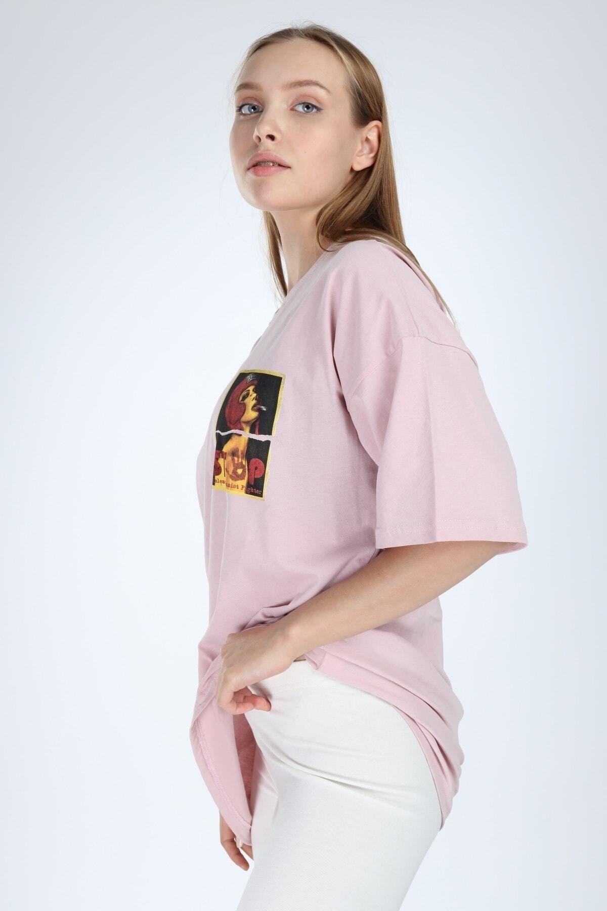 Millionaire Kadın Pembe Stop Baskılı Oversize T-shirt 1